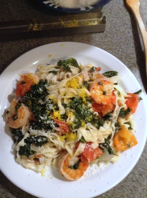 Shrimp, grape tomato, and arugula pasta