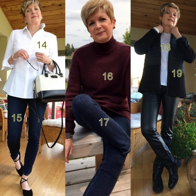 three shots of a woman in various outfits
