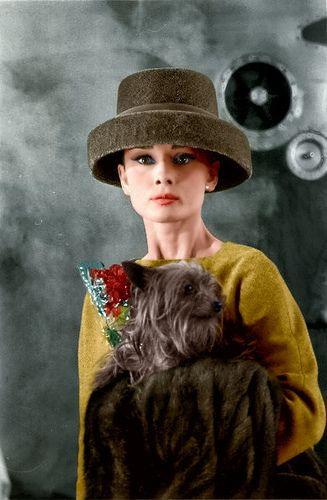 Audrey Hepburn in a green hat