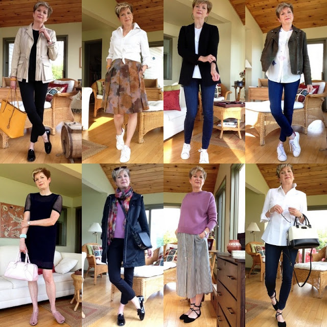 eight shots of woman in eight spring outfits