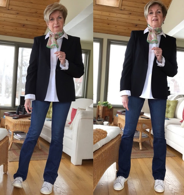 two shots of woman in navy blazer, white shirt, jeans, white sneakers, pink and green scarf