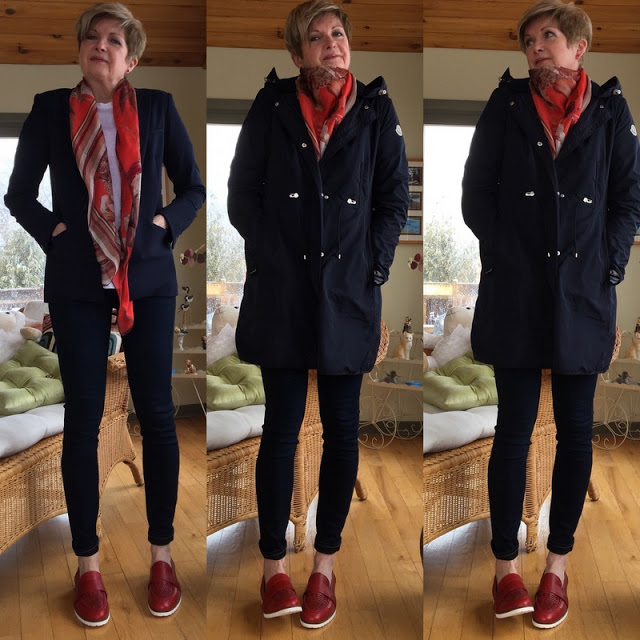 three shots of woman in blue suit jacket, blue anorak, jeans, red shoes, and coral scarf