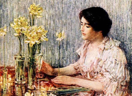 painting of woman and yellow jonquil flowers