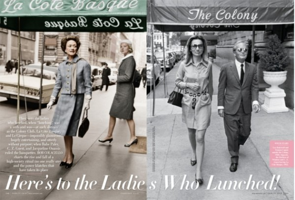 """title page for  Vanity Fair article """"Here's to the Ladies Who Lunched!"""""""