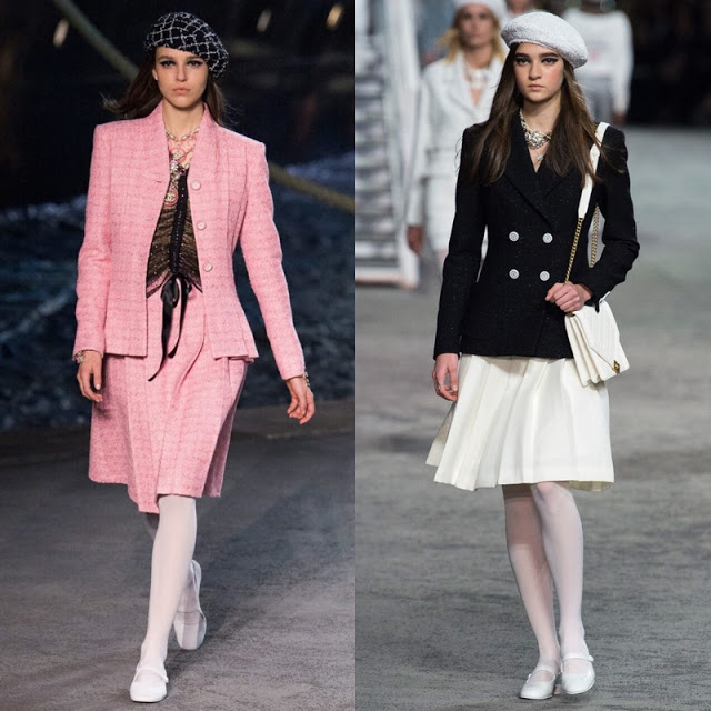 two models in nautical-style jackets and skirts
