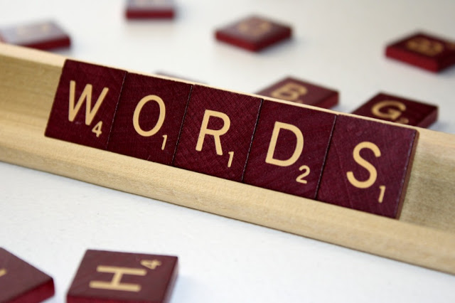 "scrabble letters spelling out ""words."""