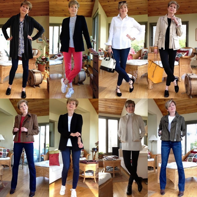 eight shots of woman in jeans and jackets