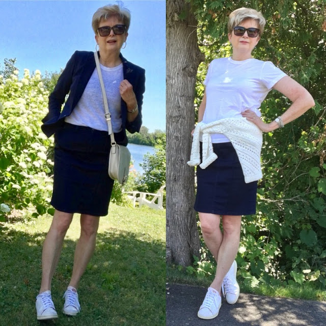 two shots of a woman in a denim skirt, white tee and white sneakers. One with a jacket and one with a sweater.