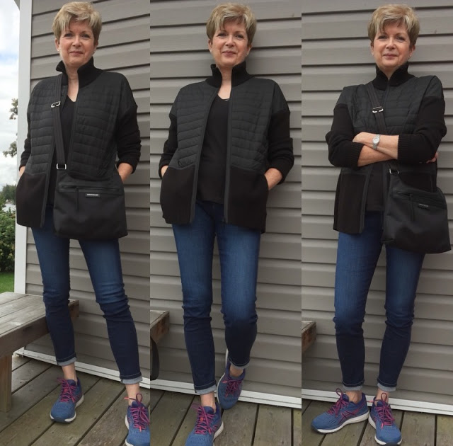 three shots of women in black sweater, sneakers, jeans and black cross-body bag