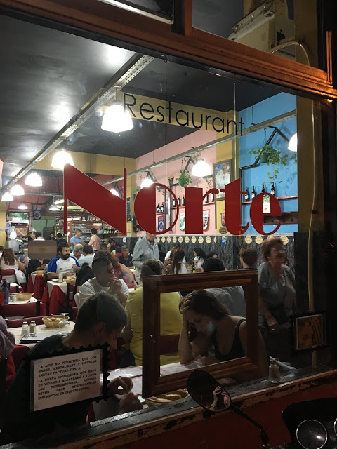 patrons viewed through the window of a restaurant in Buenos Aires