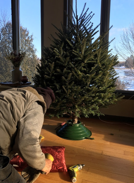 man kneeling in front of Christmas tree with tools