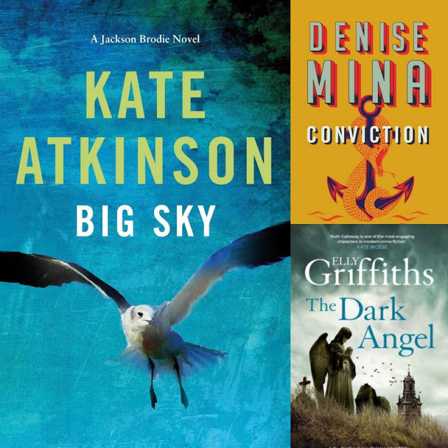 cover art for new books by Kate Atkinson, Denise Mina, and Elly Griffiths
