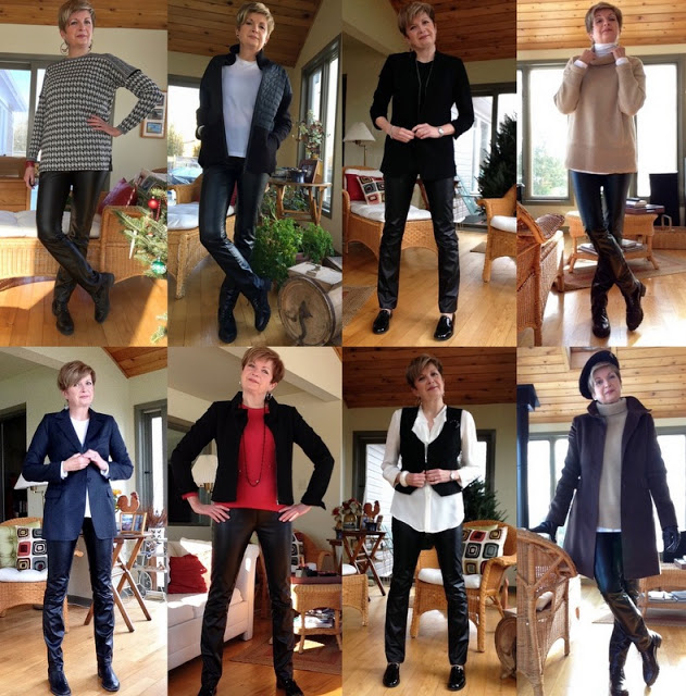 woman wearing black leather pants eight ways.