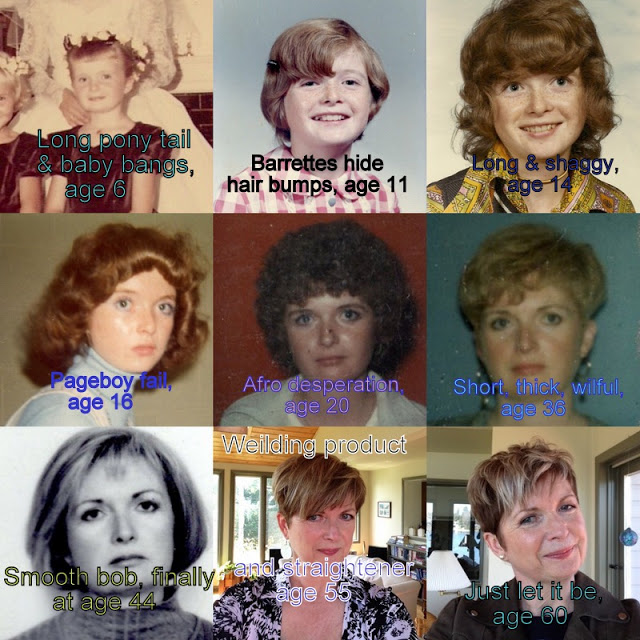 nine shots of a woman from age 6 to 60 with ever changing hairstyles