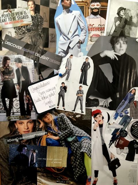 collage of fashion shots and slogans